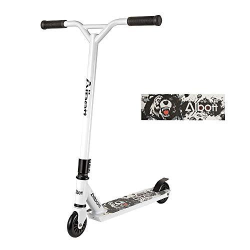 Albott Stunt Scooter Sport Pro Roller Kickscooter Weiß Design für Kinder Erwachsene und Anfänger ab 8...