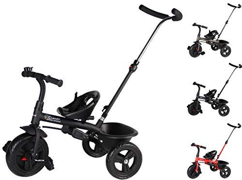 Clamaro 'Buttler Basic' 2in1 Kinderwagen Dreirad ab 1 Jahr mit lenkbarer Schubstange, mit flüsterleisen...