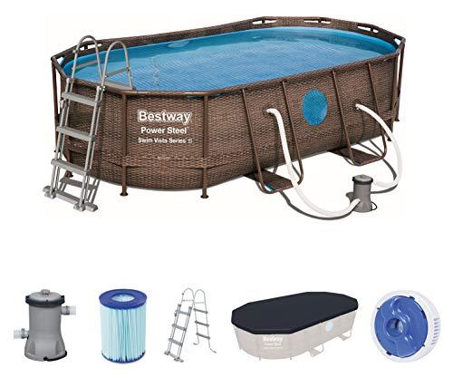 Bestway Power Steel Swim Vista 424x250x100 cm, Frame Pool oval Komplett-Set mit stabilem Stahlrahmen,...