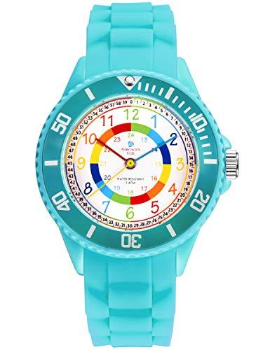 Alienwork Kids Lernuhr Kinderuhr Mädchen Uhrzeit Lernen Türkis Silikon-Armband Mehrfarbig Kinder-Uhr...