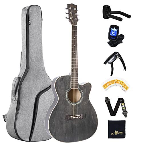 Winzz Akustik Gitarre Kinder 3/4, Westerngitarre Schwarz 36 Zoll Anfänger Set