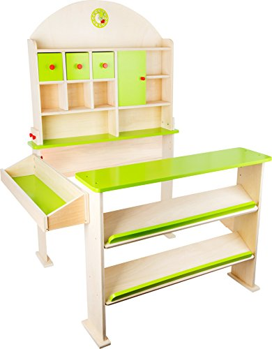 small foot 10587 Verkaufsstand 'Markttag' aus Holz, mit Fächern und Türen für Waren des...