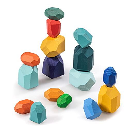 naturling Balancier Stapelsteine - Montessori Holzspielzeug handgemacht - 16 Bunte Holz Spielsteine für...