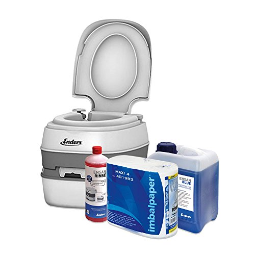 Enders Campingtoilette Starter-Set Blue 2,5 Liter Comfort 4945 inkl. Sanitärflüssigkeit und WC Papier -...