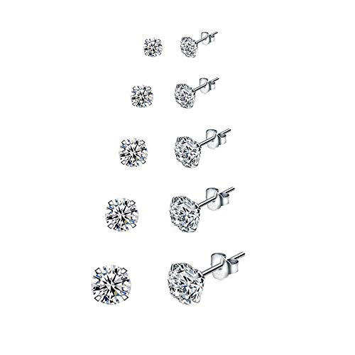 5 Paare 925 Silber Ohrringe Set Ohrstecker Damen Silber Ohrringe Stecker Diamant Ohrringe Mädchen...