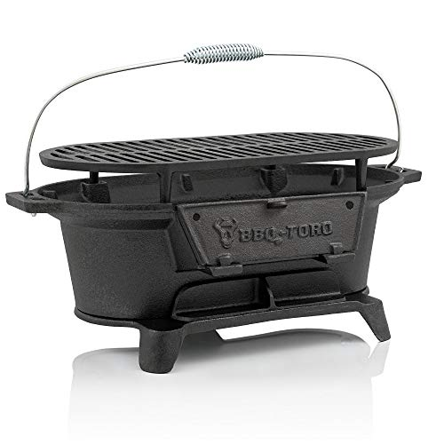 BBQ-Toro Gusseisen Grilltopf mit Grillrost   50 x 25 x 23 cm   Hibachi Style Holzkohle Campinggrill