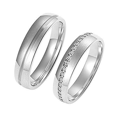 Amtier Paar-Ring Edelstahl-Ringe für Paar Eheringe Herrenring Damenringe 5mm mit Geschenkbox, Herren...