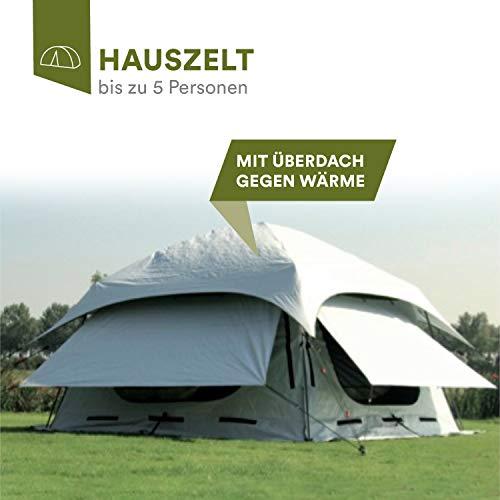 skandika Varberg Hauszelt für 5 Personen | mit Überdach gegen Wärme | Moskitonetze | sehr schneller...