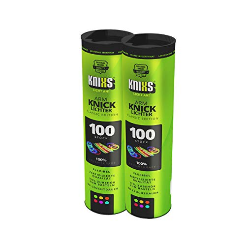 KNIXS Knicklichter inkl. 200x 2D-Verbindern, 4x Kreisverbinder, 4x 7-Loch-Verbinder im 6-Farb-Mix, in...