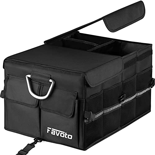 Favoto Auto Kofferraum Organizer Kofferraumtasche mit klappbarem Deckel Reflektorstreifen Robust...