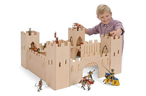 Große Ritterburg aus Holz (ohne Figuren!) / Maße: 75 x 75 x 37 cm / für Kinder ab 3 Jahren /...