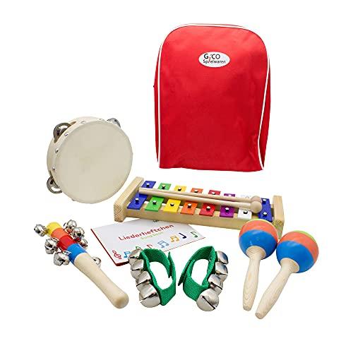 Kinder'Musik im Rucksack' Set: Xylophon, Tamburin, Schellenstab, Schellenarmbänder und Maracas - 3878...