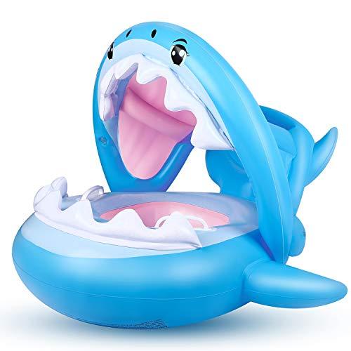 Baby Schwimmring Aufblasbarer Hai Schwimmsitz Kinderboot Kinder Schwimmhilfe mit Sonnenschutz für Kinder...