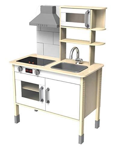 Eichhorn 100002494 - Spielküche aus Holz, Herd mit leuchtenden Herdplatten, Spüle, Backofen und...