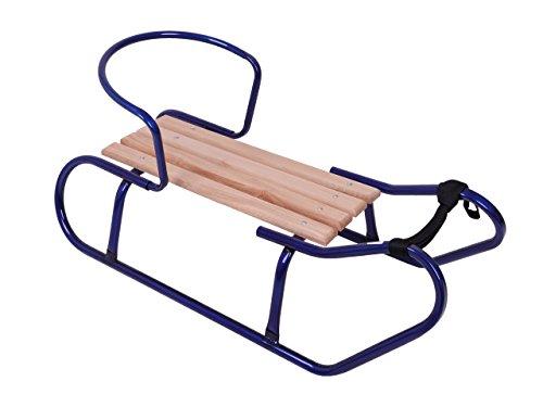 Holzschlitten Metallschlitten Kinderschlitten aus Buchenholz Metall Rückenlehne inkl. Zugseil Schlitten...