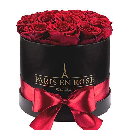 PARIS EN ROSE Rosenbox Palais-Royal Classic | Schwarze Rosenbox mit bordeauxroten Infinity Rosen |...
