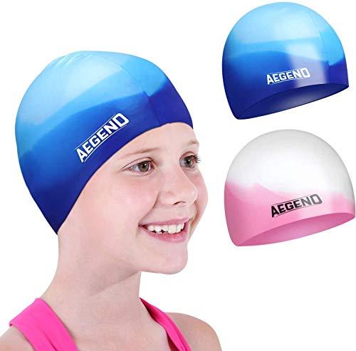 Aegend 2er Pack Badekappe für (3-12 Jahre), Silikon Wasserdichte Badekappe für Kinder, Jugendliche,...