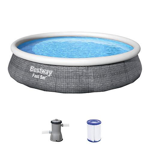 Bestway Fast Set Pool 396x396x84 cm, Gartenpool Set selbstaufbauend mit aufblasbarem Luftring, rund, mit...