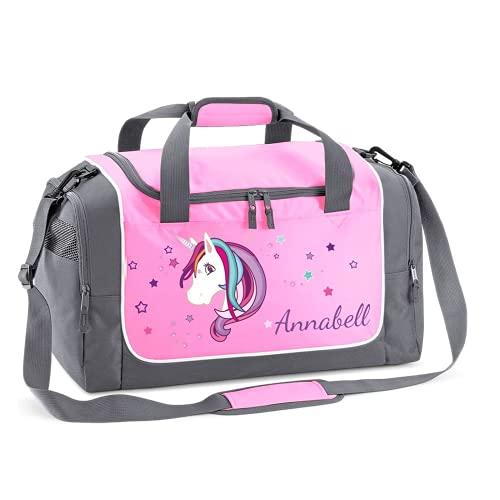 Mein Zwergenland Sporttasche Kinder personalisierbar 38L, Kindersporttasche mit Name und Einhorn Bedruckt...