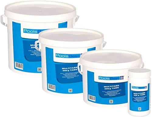POOLSBEST® 3 kg Chlor Multitabs 5 in 1 200 g Chlortabletten für Pool - Chlor wirkt schnell gegen...