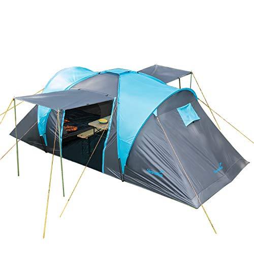 Skandika Kuppelzelt Hammerfest für 4 Personen | Campingzelt mit 2 m Stehhöhe, 2 Schlafkabinen, 2...