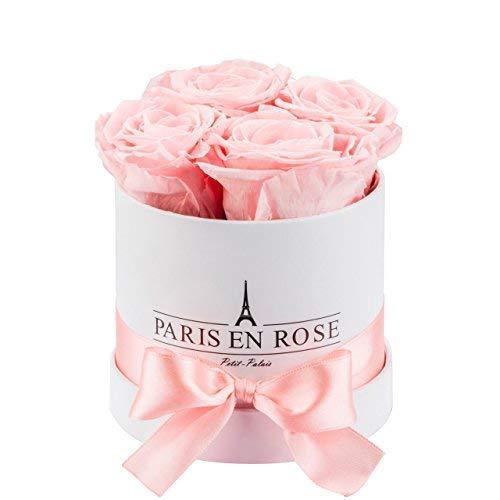 PARIS EN ROSE Rosenbox 'Petit-Palais' | weiße Flowerbox mit rosa Infinity Rosen | 4 konservierte Blumen