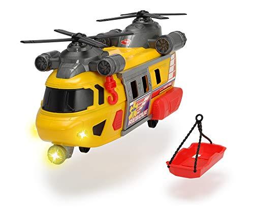 Dickie Toys Rettungshelikopter mit drehbarem Frontlicht & Sound, Helikopter mit Aufzieh-Seilwinde inkl....