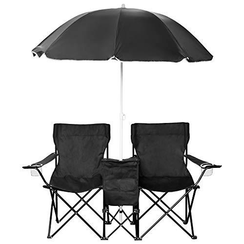 1PLUS 2er Partner Campingstuhl, klappbar, mit Sonnenschirm und Kühlfach - Doppelsitzer Anglerstuhl für...