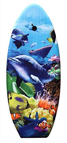 Idena 40467 - Schwimmbrett für Kinder, Bodyboard mit Halteleine und Stoffüberzug, Delfin, ca. 99 x 40 x...