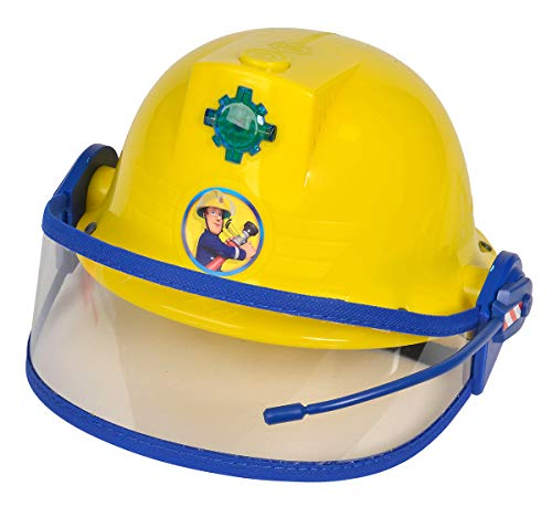 Simba 109252365 - Feuerwehrmann Sam Helm, Feuerwehrhelm mit Funktion, gelb, mit Licht und SirenenSound,...