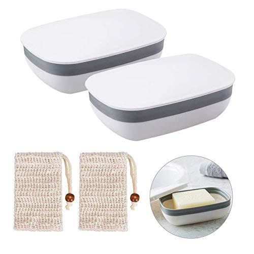 Queta Seifendose, 2 Stück Seifenschalen Box mit Abdeckung and 2 Stück Seifensäckchen Sisal für...
