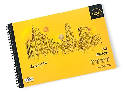 PLASTOREG Zeichenblock/Sketch Pad A3 mit Spiralbindung Skizzenbuch - 50 Blatt hochwertiges glattes...