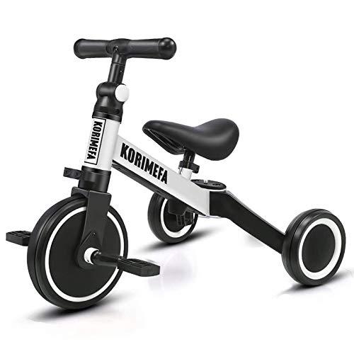 KORIMEFA 3 in 1 Kinder Dreirad Laufräder Laufrad Kinderdreirad Lauffahrrad für Kinder ab 1 Jahre bis 3...