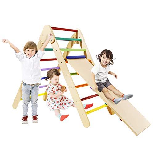 Bamny Klettergerüst Kinder Kletterdreieck mit rutsche Triangle Gym Dreieck Pikler Dreieck für Drinnen...