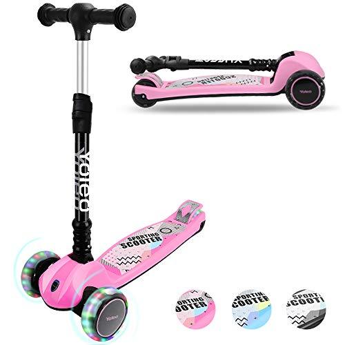 YOLEO Kinder Roller Kinderscooter Dreiradscooter mit LED Leuchtenden Räder, 2-Rädern Hinterbremsen,...