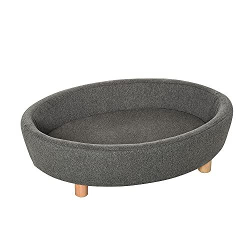 Pawhut Hundesofa Haustiersofa Oval morderne Gebürstetes Stoff für mittelgroßen Hunde und Katzen 81 x...