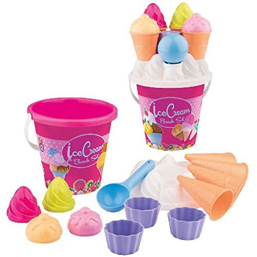 Simba 107114092 - Eimergarnitur Eis, 14 Teile, Sandkasten, Wasserspielzeug, Sandspielzeug, Es wird nur...