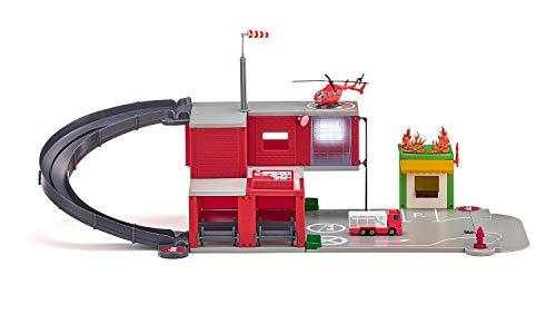 siku 5508, Feuerwache, Rot, Kunststoff, Mit Licht- und Soundeffekten, Inkl. Feuerwehrauto, Hubschrauber,...