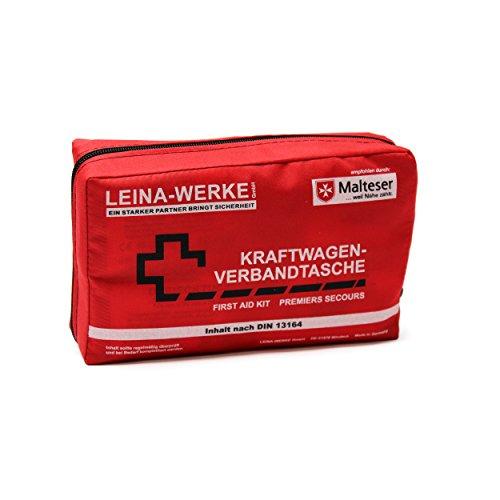 Leina KFZ-Verbandtasche Compact, Inhalt DIN 13164, rot, Red/Black-White Print, Set of 10
