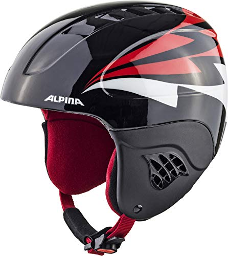 ALPINA CARAT Skihelm, Kinder, black-red, 51-55
