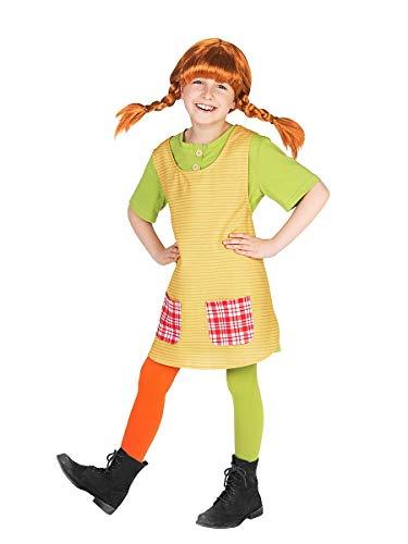 Maskworld Pippi Langstrumpf Kostüm für Kinder - 3teilig - grün/gelb Lizenz Filmkostüm (122/128)