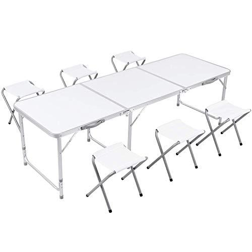 Campingtisch faltbar Gartentisch mit Stühlen Klapptisch Falttisch aus Aluminium höhenverstellbar weiß...