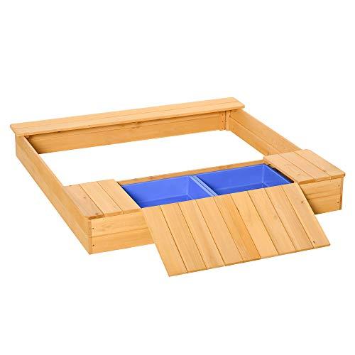 Outsunny Sandkasten Staubdichte Holzsandkasten mit 2 Aufbewahrungsbox 3-6 Jahren Natur+Blau 125 x 121 x...