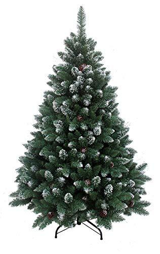 RS Trade 15013 Weihnachtsbaum künstlich 150 cm mit Schnee und Zapfen (Ø ca. 96 cm) ca. 760 Spitzen,...
