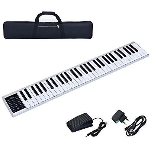 COSTWAY Digitales Piano Keyboard 61 Tasten, tragbares elektronisches Musikinstrument, MIDI Bluetooth,...