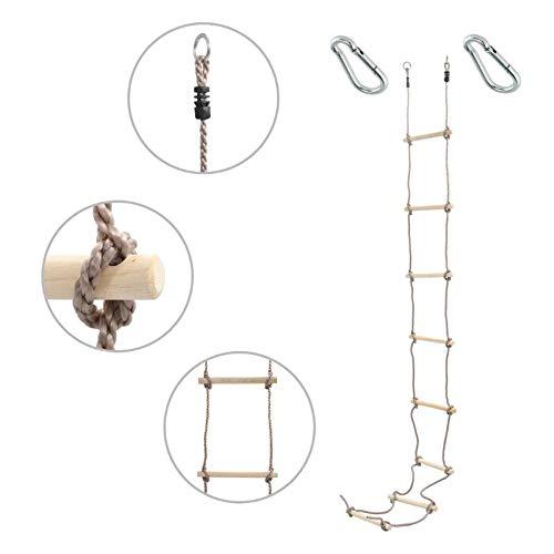 1 Stück h2i Kinder Strickleiter Kletterleiter 290 cm 8 Sprossen mit Karabiner zum Einhängen