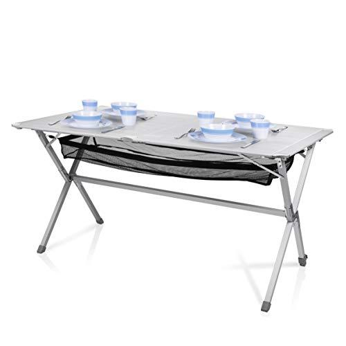 Campart Campingtisch/ Reisetisch - 140 x 80 cm wetterbeständige Rolltischfläche aus Aluminium/ mit...