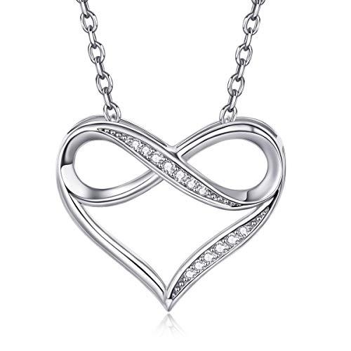 Halsketten für Frauen 925 Sterling Silber Charm Herz Kette Zirkonia Halskette Unendlichkeitszeichen...