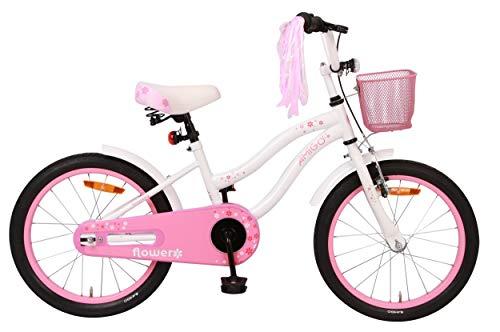 Amigo Flower - Kinderfahrrad für Mädchen - 18 Zoll - mit Handbremse, Rücktritt, Korb, fahrradständer...