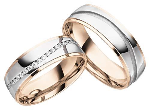 JC Trauringe Silber 925 Paarpreis Eheringe Rotgold Weißgold Plattiert 6,50 mm breit I Partnerringe mit...